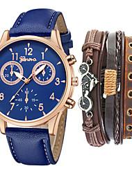cheap -Men's Dress Watch Quartz Gift Set Leather Black / Blue / Brown No Chronograph Cute Creative Analog New Arrival Fashion - Black / White Black / Blue Black / Rose Gold One Year Battery Life