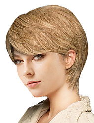 cheap -Human Hair Wig Short Straight Natural Straight Bob Pixie Cut Layered Haircut Asymmetrical Brown Fashionable Design Adjustable Easy dressing Capless Women's All Medium Auburn Natural Black Blonde 8
