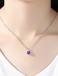 cheap -Women's Pendant Necklace Fashion Boho Zircon Chrome Purple Silver 45 cm Necklace Jewelry 1pc For Daily Festival