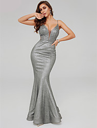 cheap -Mermaid / Trumpet Spaghetti Strap Floor Length Sequined Sparkle / Grey Prom / Formal Evening Dress with Beading / Sequin 2020