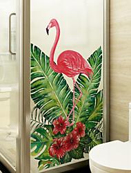 Недорогие -фламинго покидает оконную пленку&усилитель; наклейки украшения матовые / животные цветочные / характер пвх (поливинилхлорид) матовые наклейки / наклейки на окна / матовые