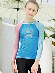 cheap -Dive&Sail Girls' Rash Guard Elastane Sun Shirt Swim Shirt UV Sun Protection Breathable Quick Dry Long Sleeve Snorkeling Water Sports Patchwork Autumn / Fall Spring Summer / High Elasticity / Kid's