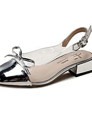 cheap -Women's Sandals Low Heel Bowknot PU Casual Summer Black / White / Silver