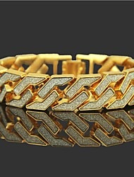 cheap -Men's Chain Bracelet Tennis Bracelet Wide Bangle Cut Out Precious Punk Rock 18K Gold Plated Bracelet Jewelry Gold / Silver For Daily Street / Rhinestone