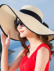 cheap -Women's Active Basic Cute Straw Straw Hat Sun Hat-Color Block Summer Fall Blushing Pink Beige Purple