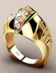 Недорогие -Жен. Кольцо Синтетический алмаз 1шт Желтый Медь Позолота Геометрической формы модный Для вечеринок Подарок Бижутерия геометрический Рыбки Cool
