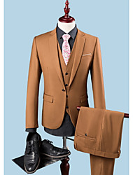 cheap -Brown Solid Colored Standard Fit Fiber Suit - Notch Single Breasted One-button