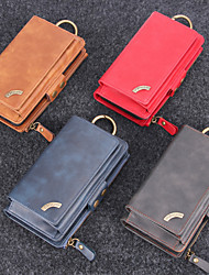 cheap -Phone Case For Apple Back Cover Leather Wallet Card iPhone XR iPhone XS iPhone XS Max iPhone X iPhone 8 Plus iPhone 8 iPhone 7 Plus iPhone 7 iPhone 6 Plus iPhone 6 Wallet Card Holder Solid Colored