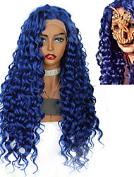 cheap -Synthetic Wig / Synthetic Lace Front Wig Curly / Afro Curly Jenner Style Middle Part Lace Front Wig Blue Blue Synthetic Hair 26inch Women's Classic / Synthetic / Color Gradient Blue Wig Long Cosplay
