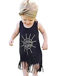cheap -Baby Girls' Active / Basic Geometric / Print Tassel / Print Sleeveless Knee-length Cotton Dress Black / Toddler
