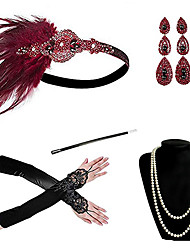 cheap -Cosplay Charleston Vintage 1920s The Great Gatsby Costume Accessory Sets Gloves Necklace Flapper Headband Women's Feather Costume Earrings Red black / Red and White / Red Vintage Cosplay Festival