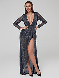 cheap -A-Line Plunging Neck Asymmetrical Tulle Sexy Formal Evening Dress 2020 with Split Front