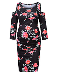 cheap -Women's Knee-length Maternity Black Navy Blue Dress Basic Sheath Floral L XL