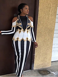 cheap -Women's Sophisticated Elegant Maxi Slim Sheath Dress - Striped Geometric Cut Out Black S M L XL