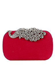cheap -Women's Bags Velvet Alloy Evening Bag Buttons Crystals Solid Color Rhinestone Crystal Evening Bags Wedding Party Event / Party Black Blue Purple Red