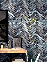 cheap -Wallpaper Plastic & Metal Wall Covering - Adhesive required Brick