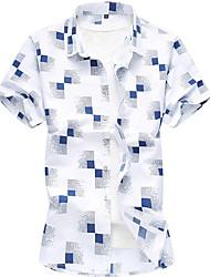 cheap -Men's Plus Size Check Shirt White / Navy Blue / Light Blue