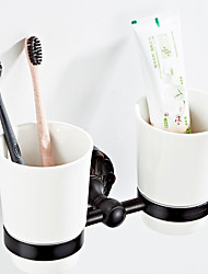 cheap -Retro Black Embossed Chassis Toothbrush Holder New Design Country / Antique Ceramic / Brass 1pc - Bathroom / Hotel bath Wall Mounted