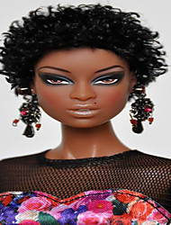 cheap -Costume Accessories Synthetic Wig Curly Tight Curl Short Bob Neat Bang Wig Long Natural Black Synthetic Hair 8 inch Women's Party Synthetic African American Wig Black / For Black Women