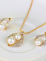 cheap -Women's Bridal Jewelry Sets Mismatched Drop Stylish Simple Earrings Jewelry Gold For Wedding Party Three-piece Suit