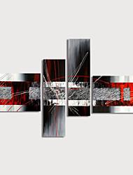 Недорогие -Hang-роспись маслом Ручная роспись - Абстракция Modern Включите внутренний каркас / 4 панели