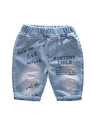 cheap -Kids Boys' Active Basic Solid Colored Print Cut Out Hole Ripped Cotton Jeans Blue