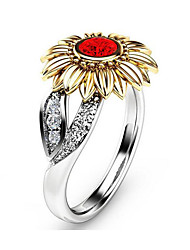 cheap -Women's Band Ring 1pc White Red Green 18K Gold Plated Brass Rhinestone Unique Design Fashion Daily Work Jewelry 3D Flower Lovely