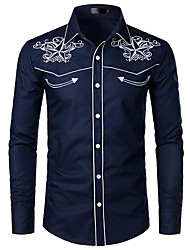 Недорогие -Муж. Графика Вышивка Рубашка - Хлопок Классический воротник Белый / Черный / Темно синий