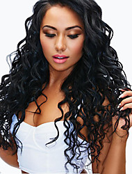 cheap -Remy Human Hair Full Lace Wig With Ponytail style Brazilian Hair Deep Wave Natural Black Wig 130% 150% 180% Density Creative Women Easy dressing Sexy Lady Hot Sale Women's Medium Length Human Hair