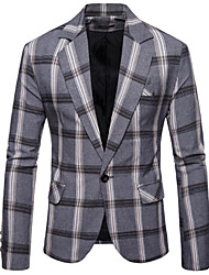 cheap -Black / Navy Blue / Gray Checkered Slim Fit Polyester Suit - Notch Single Breasted One-button