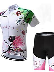 abordables -Garçon Fille Manches Courtes Maillot et Cuissard Velo Cyclisme - Enfant Noir / Blanc Floral Botanique Vélo Ensembles de Sport Respirable Evacuation de l'humidité Séchage rapide Des sports Lycra