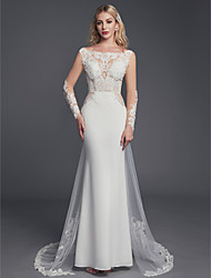 cheap -Sheath / Column Scoop Neck Court Train Lace / Tulle Long Sleeve Mordern / Sexy Backless Made-To-Measure Wedding Dresses with Beading / Lace 2020 / Illusion Sleeve