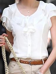 cheap -Women's Plus Size Solid Colored Blouse White / Black