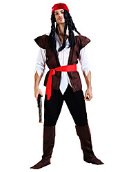 cheap -Pirate Cosplay Costume Party Costume Men's Halloween Festival / Holiday Terylene Carnival Costumes Solid Colored / Top / Hat