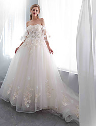 cheap -Ball Gown Off Shoulder Court Train Tulle / Lace Over Satin Half Sleeve Made-To-Measure Wedding Dresses with Appliques 2020