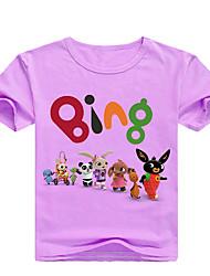 cheap -Kids Toddler Girls' Basic Print Print Short Sleeve Cotton Tee Blushing Pink