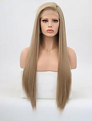 Недорогие -Синтетические кружевные передние парики Прямой Стиль Боковая часть Лента спереди Парик Блондинка Льняной Искусственные волосы 20-24 дюймовый Жен. Регулируется Жаропрочная Для вечеринок Блондинка Парик