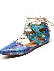 Недорогие -Жен. Обувь для модерна / Бальные танцы Полиуретан Шнуровка На плоской подошве В мелкую точку На плоской подошве Персонализируемая Танцевальная обувь Черный / Телесный / Синий / Тренировочные