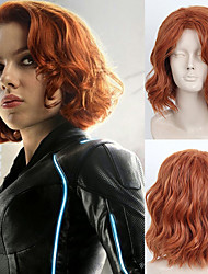 cheap -Cosplay Costume Wig Synthetic Wig Curly Side Part Wig Burgundy Medium Length Brown / Burgundy Synthetic Hair 16 inch Women's Fashionable Design Party Women Burgundy