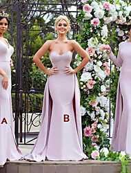 cheap -Mermaid / Trumpet V Neck / Sweetheart Neckline Sweep / Brush Train Jersey Bridesmaid Dress with Appliques