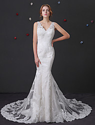 cheap -Mermaid / Trumpet V Neck Chapel Train Lace / Tulle Regular Straps Wedding Dresses with Lace / Buttons / Beading 2020