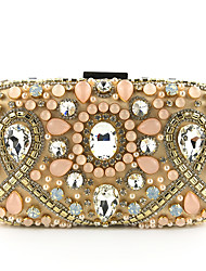 cheap -Women's Crystals / Pearls Polyester / Silk Evening Bag Solid Color Champagne