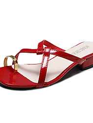 cheap -Women's Sandals Low Heel PU Casual Summer Black / Red