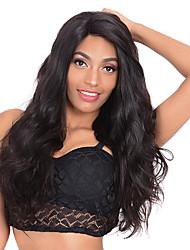 Недорогие -человеческие волосы Remy Лента спереди Парик Средняя часть стиль Бразильские волосы Естественные кудри Черный Парик 130% 150% 180% Плотность волос