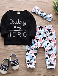 cheap -Baby Girls' Casual / Active Geometric / Print Print Long Sleeve Regular Cotton Clothing Set Black / Toddler