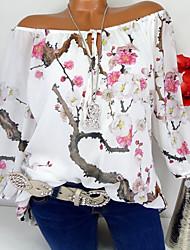 cheap -Women's T-shirt - Floral / 3D Lace up / Patchwork / Print V Neck White