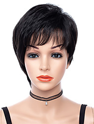 cheap -Synthetic Wig Straight Rihanna Free Part Wig Short Black#1B Synthetic Hair 8 inch Women's Adjustable Heat Resistant Classic Black