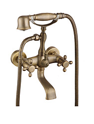 cheap -Bathtub Faucet Brushed / Antique Copper / Rose Gold Wall Installation Brass Valve Bath Shower Mixer Taps