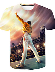 cheap -Men's Daily Street Basic Plus Size T-shirt - 3D / Cartoon / Portrait Print Round Neck Rainbow / Short Sleeve