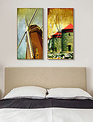 cheap -Framed Art Print Framed Canvas Prints - Landscape PS Oil Painting Wall Art